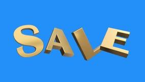 Złoty sprzedaży słowa zgromadzenie od list części wiruje animację na błękitnym parawanowym tle - nowej ilości unikalny pieniężny ilustracja wektor