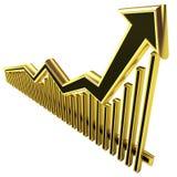 złoty strzałkowaty biznesowy złoty wykres Zdjęcie Royalty Free
