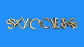 Złoty sukcesu słowa zgromadzenie od części animaci bezszwowej pętli na błękitnym tle - nowej ilości unikalny pieniężny royalty ilustracja
