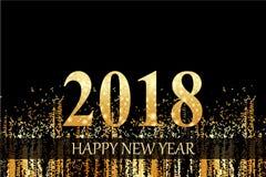 Złoty szczęśliwy nowego roku 2018 tło Obrazy Royalty Free