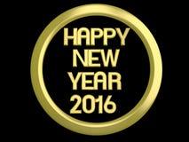 Złoty szczęśliwy nowy rok HNY 2016 Obraz Royalty Free