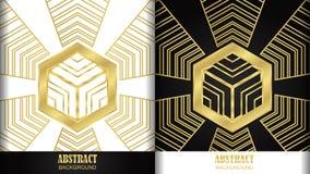 Złoty sześciokąta wzór 2 projektuje w białym i czarnym tle ilustracji