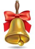 Złoty szkolny dzwon z czerwonym łękiem ilustracji