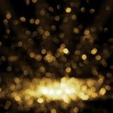 Złoty tła światła bożych narodzeń wakacje wzór abstrakcjonistyczny deco fotografia stock