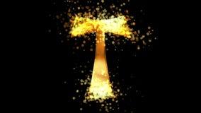 Złoty tau krzyż, chrześcijaństwo religijny symbol na przejrzystym tle ilustracji