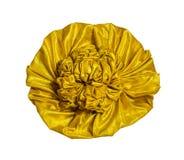 Złoty tkanina kwiat odizolowywający Fotografia Royalty Free
