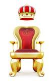 Złoty tron z koroną przy wierzchołkiem royalty ilustracja