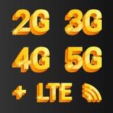 Złoty wektoru set 2g, 3g, 4g, 5g connetcion ikony royalty ilustracja