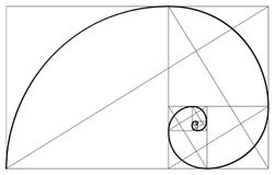 Złoty współczynnik spirali symbol ilustracji