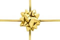 złoty wstążkę prezentu Fotografia Royalty Free