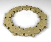 Złoty wyrzynarki łamigłówki pierścionek Zdjęcie Stock