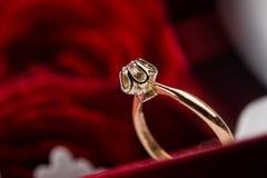 złoty zbliżenie pierścionek Zdjęcia Stock