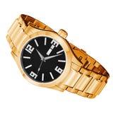 Złoty zegarek odizolowywający obrazy royalty free
