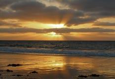 Złoty zmierzch przy Torrance stanu plażą, Los Angeles okręg administracyjny, Kalifornia zdjęcie royalty free