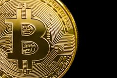 Złotych bitcoins wirtualny pieniądze, crypto pieniądze lub cryptocurrency, Fotografia Stock
