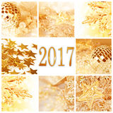 2017, złotych boże narodzenie ornamentów kwadratowy kartka z pozdrowieniami Obrazy Royalty Free