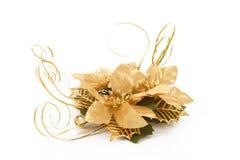 Złotych bożych narodzeń dekoracyjny kwiat na biel Fotografia Royalty Free