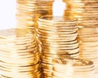Złotych monet zamknięty up Zdjęcia Royalty Free