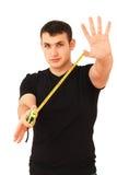 Złotych rączek przedstawień mesuare taśmy władca odizolowywająca Zdjęcia Stock