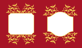 Złotych rośliien flanc dekoraci Ramowy set Fotografia Stock
