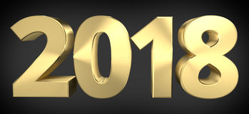 2018 złotych sylvester śmiali 2018 3D ilustracji