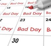 Zły dnia kalendarz Pokazuje Szorstkiego Lub Stresującego czas Obraz Stock