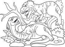 Zły mięsożerny drapieżnik atakował trawożernego dinosaura Fotografia Royalty Free