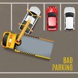 Zły parking Odgórnego widoku tło ilustracji