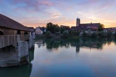 Zły Saeckingen z drewnianym mostem zdjęcie stock