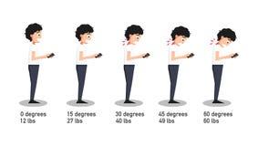 Zły smartphone pozuje kąt odnosić sie chylenie głowa ilustracja wektor