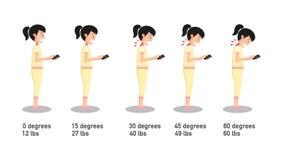 Zły smartphone pozuje kąt odnosić sie chylenie głowa ilustracji
