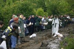 Zły wylew na rejestrze przez Bałkany w Serbia Fotografia Stock