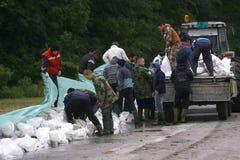 Zły wylew na rejestrze przez Bałkany w Serbia Obrazy Stock