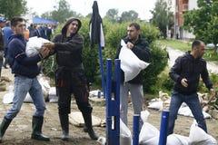 Zły wylew na rejestrze przez Bałkany w Serbia Fotografia Royalty Free