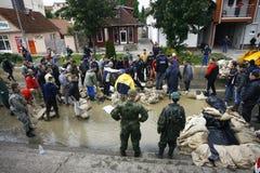Zły wylew na rejestrze przez Bałkany w Serbia Zdjęcie Stock