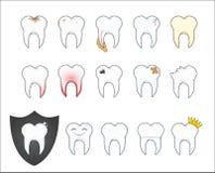 Zły ząb z plakietą i zagłębieniem również zwrócić corel ilustracji wektora Obraz Royalty Free