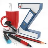 ` Z与办公室材料的` 3d信件 库存照片