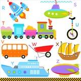 A-Z字母表: 汽车/通信工具/运输 库存图片