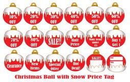 Z śnieżną Metką bożenarodzeniowa Piłka Obraz Royalty Free