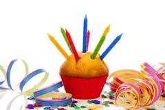 Z świeczką urodzinowa babeczka Obrazy Stock