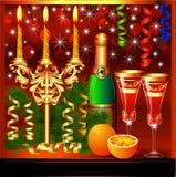 Z świeczkami świąteczny tło wine i szkła Fotografia Stock