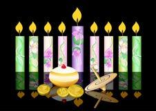 Z świeczkami Hanukkah tło