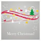 Z życzeniami nowożytna wektorowa kartka bożonarodzeniowa zdjęcie royalty free