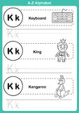 字母表与动画片词汇量的a-z锻炼彩图的 免版税库存照片