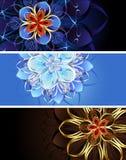 Z abstrakcjonistycznymi kwiatami trzy sztandaru Zdjęcia Stock