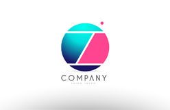 Z alphabet 3d sphere letter blue pink logo icon design. Z alphabet logo 3d blue sphere letter blue pink vector creative company icon design template modern Royalty Free Stock Images