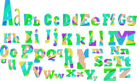 A-Z Alphabet design full color. Inner shadow and Cut into several parts within font AB Alphabet design full color Royalty Free Stock Image