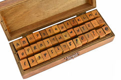A-Z alphabet rubber stamp made by wood Royalty Free Stock Photo