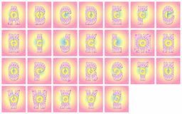 A-Z alphabets in pink abstract. ALphabets of English in pink abstract from A to Z Royalty Free Stock Image