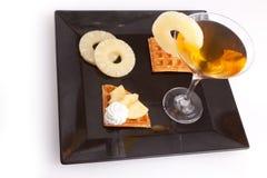 Z Ananasowymi Plasterkami ananasowy Sok Zdjęcia Stock